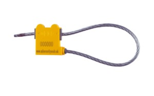 mclz 5mm yellow cable seal locked, cable security seals, Cable Seals, Cable Security Seals, Container Seals, High Security Seals, intermodal cable seal, Metal Cable Seal, Metal Seal, Pull Tight Cable Seals, Security Seals, Wire Security Seal,